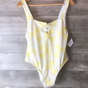 L.A Hearts PacSun yellow tie up one piece swimsuit